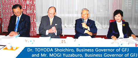 Dr. TOYODA Shoichiro, Business Governor of GFJ and Mr. MOGI Yuzaburo, Business Governor of GFJ